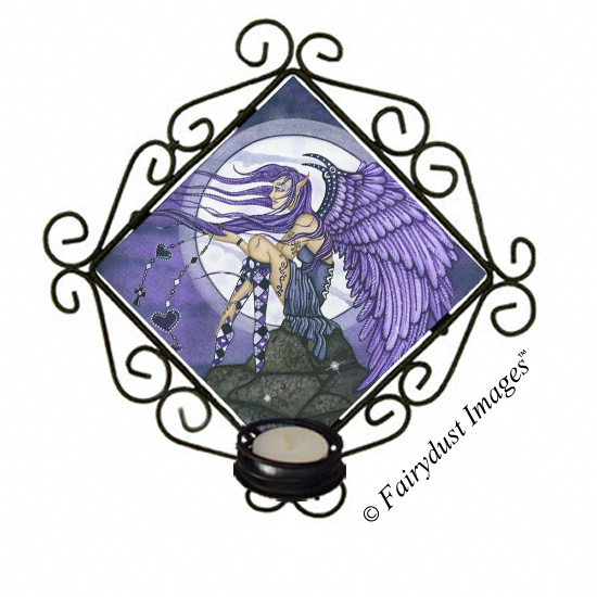 Angelica, Angel Tile Candle Sconce
