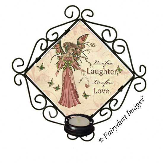 Keeper of Hearts, Valentine's Day Fairy - Tile Candle Sconce