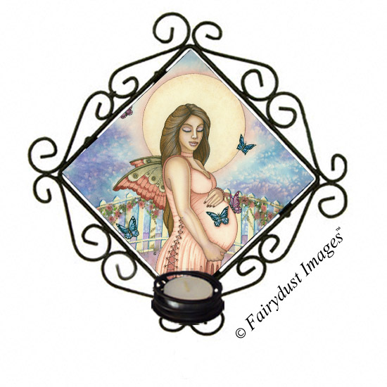 Life's Precious Moments, Pregnant Fairy Tile Candle Sconce