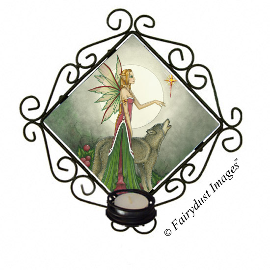 Silent Night, Fairy and Wolf Tile Candle Sconce