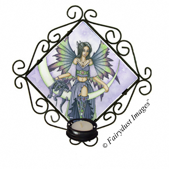 Starry Night, Crescent Moon Fairy Tile Candle Sconce