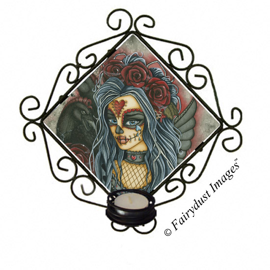 Wild Heart, Sugar Skull Tile Candle Sconce