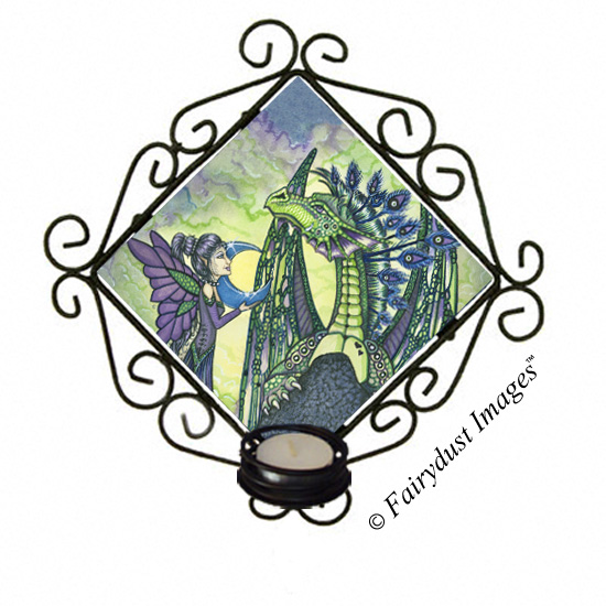 Enchantment, Dragon and Fairy Tile Candle Sconce
