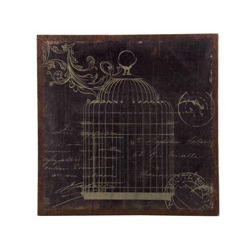 Bird Cage Prints On Burlap