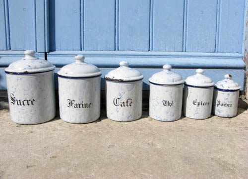 French Blue Marbled Enamel Canisters