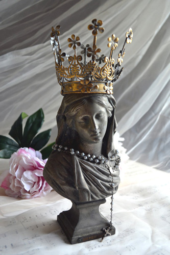 Antique Bust French Madonna Statue