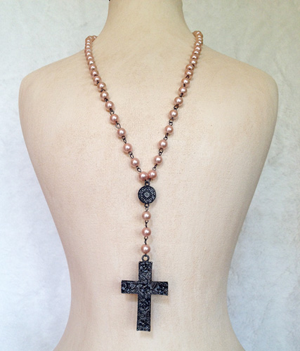 Pink Rosary Necklace