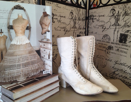 Antique White Victorian Boots